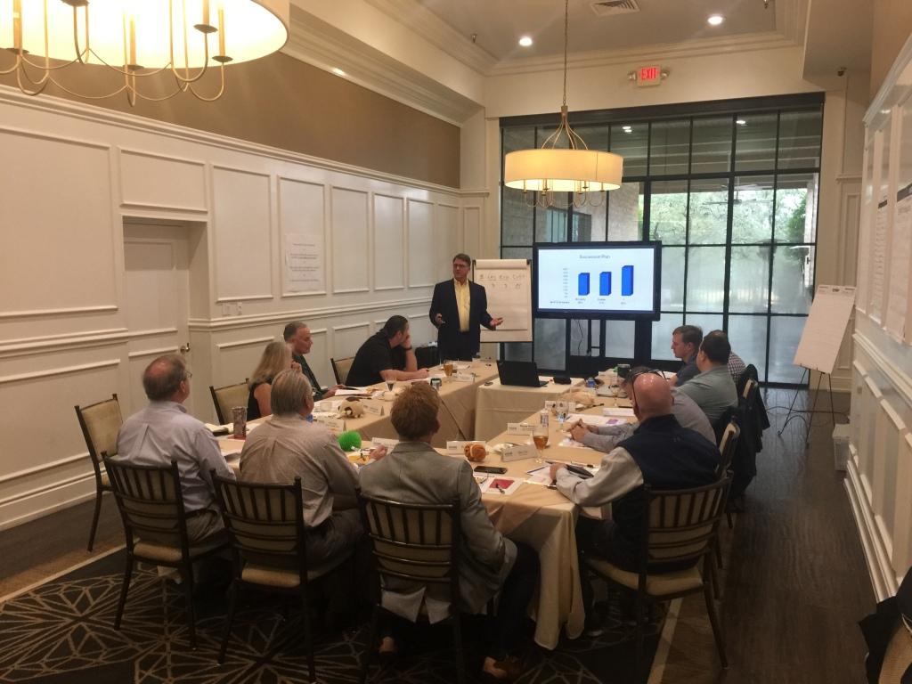 Advisory group meeting at Austin Country Club, Speaker Scot Hunsaker
